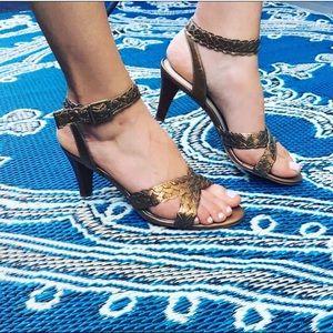Gold metallic criss cross braided heels